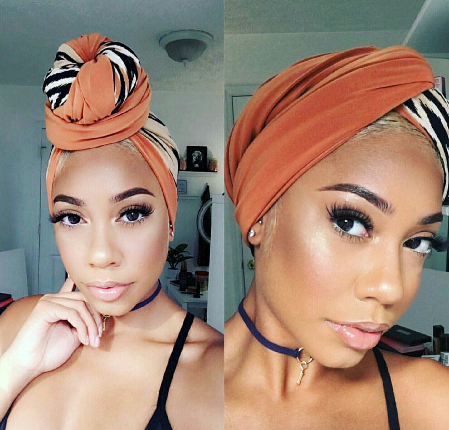 Love This Neutral Glam Look From Faceovermatter Scarf Hairstyles Natural Hair Styles Hair Wraps