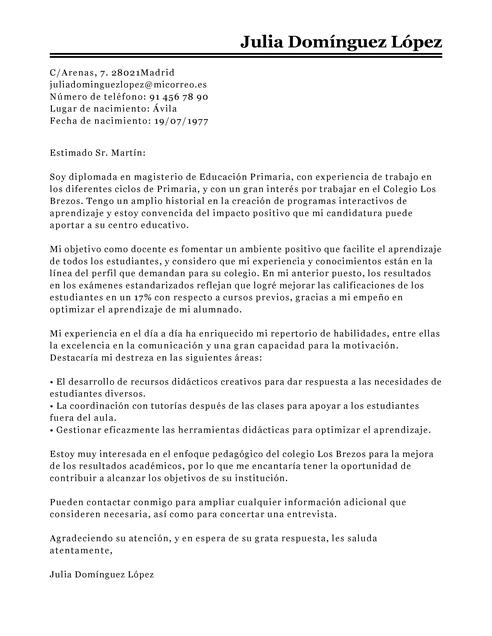Modelo de Carta de Presentación Maestro | Maestro Ejemplo ...