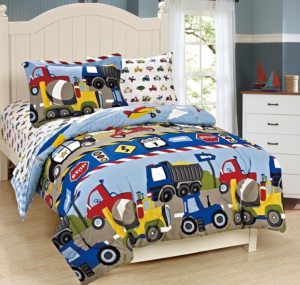 Fancy Linen 7pc Boys Full Comforter And Sheet Set Trucks Tractors