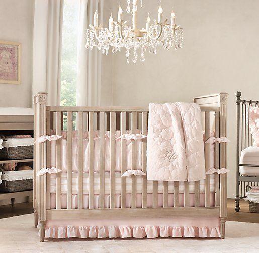 Frayed Ruffle & European Vintage Stripe Nursery Bedding
