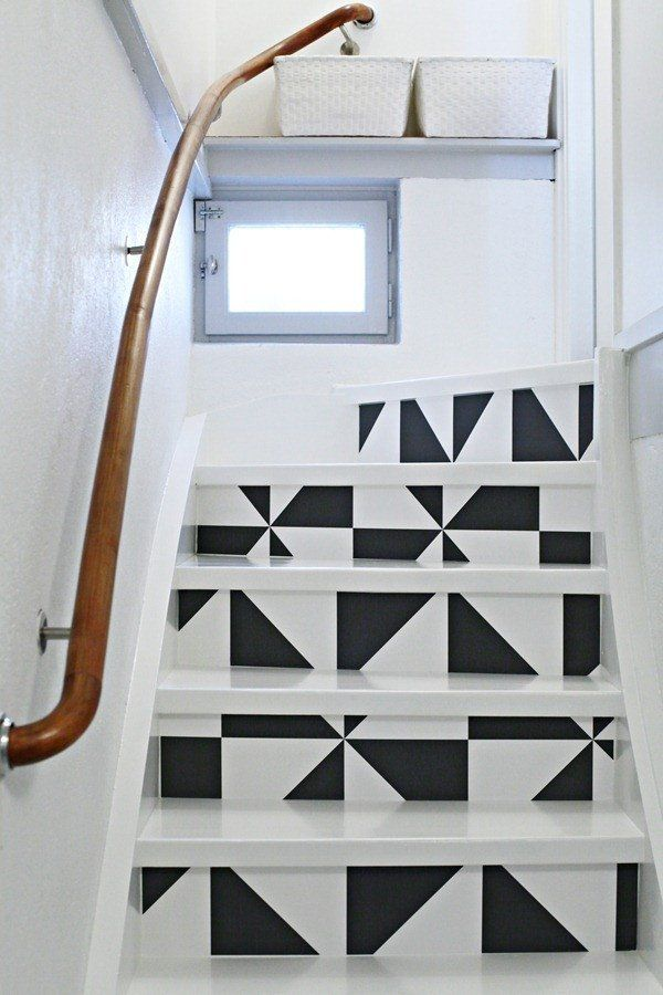Tri Angled Air Bnb Basement Stairs Painted Stairs