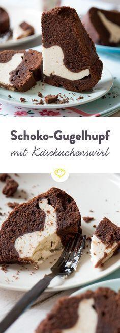 Schoko-Gugelhupf mit cremigem Käsekuchenherz #chocolatecake