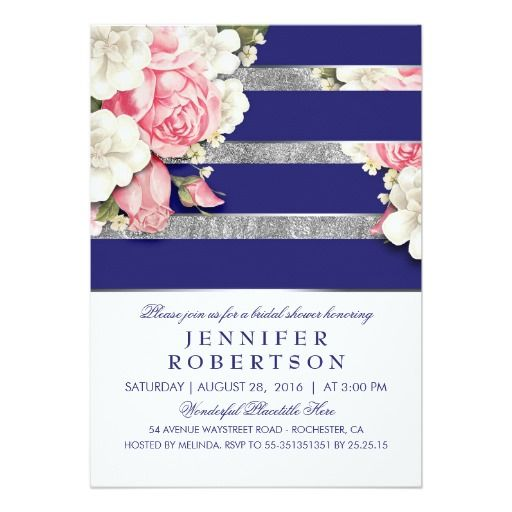 Vintage Floral Navy Silver Stripes Bridal Shower