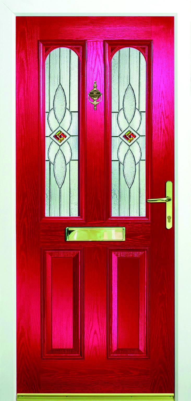 Cambridge With Crystal Red Glass Design Composite Grp Xtremedoor Composite Door Modern Composite Doors Doors