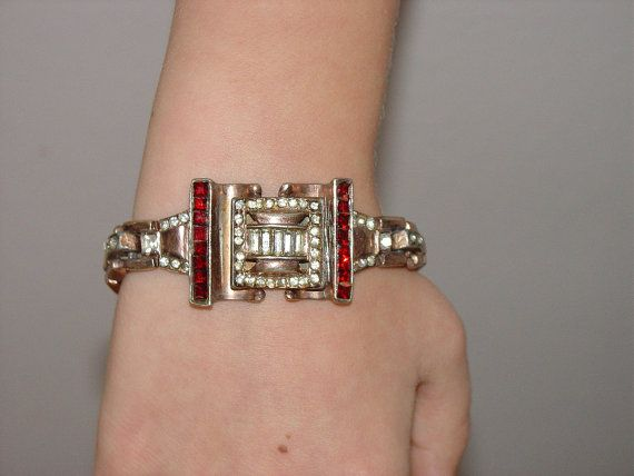Vintage Art Deco 40's Rhinestone Bracelet Possible by vintagegemz, $75.00