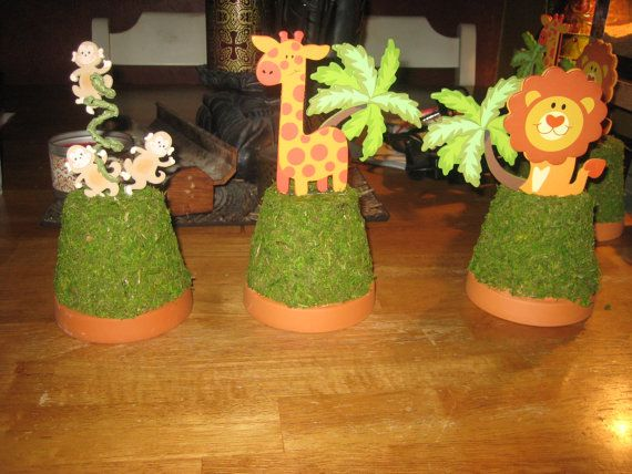 Center Pieces For A Jungle Themed Baby Shower By Sublimesweetness