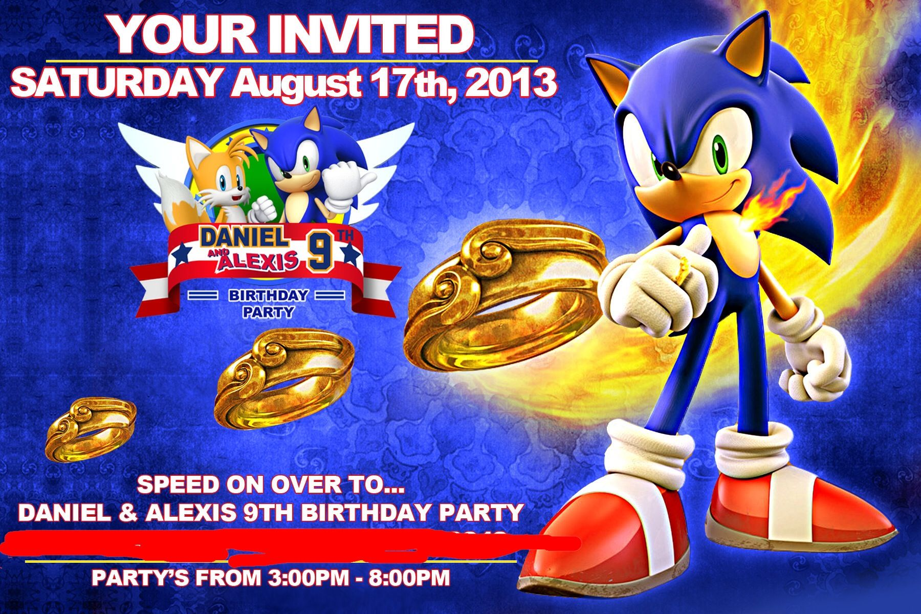 Sonic the Hedgehog birthday party invitation Sonic the hedgehog
