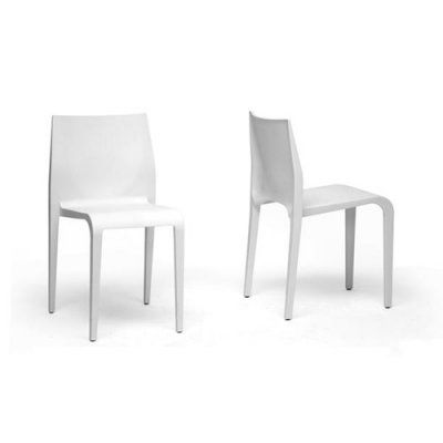 Baxton Studio Blanche White Stackable Molded Plastic Modern Dining