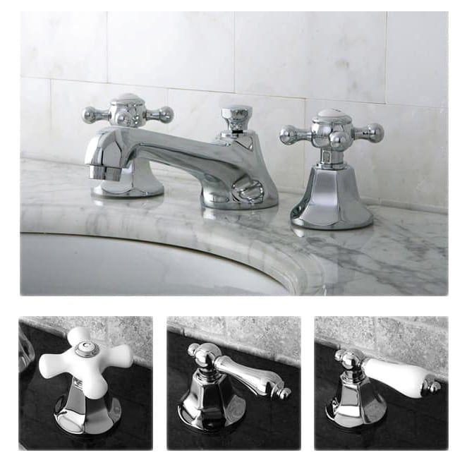 Photo of Metropolitan Chrome Widespread bathroom faucet (silver porcelain cross), gray, Kingston brass