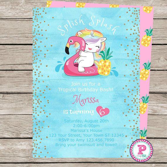 Unicorn Flamingo Watercolor Birthday Party Invitation Digital File - birthday invitation pool party