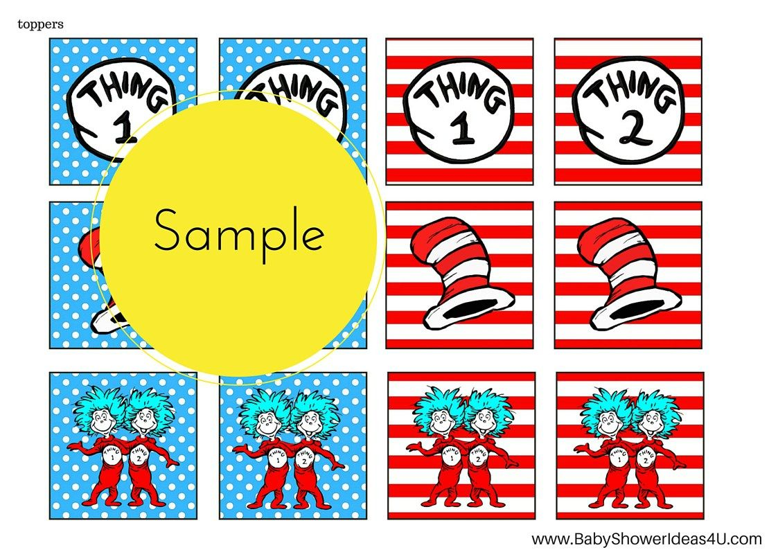 FREE Dr Seuss Thing 1 Thing 2 Twins Party Printable   Pinterest ...