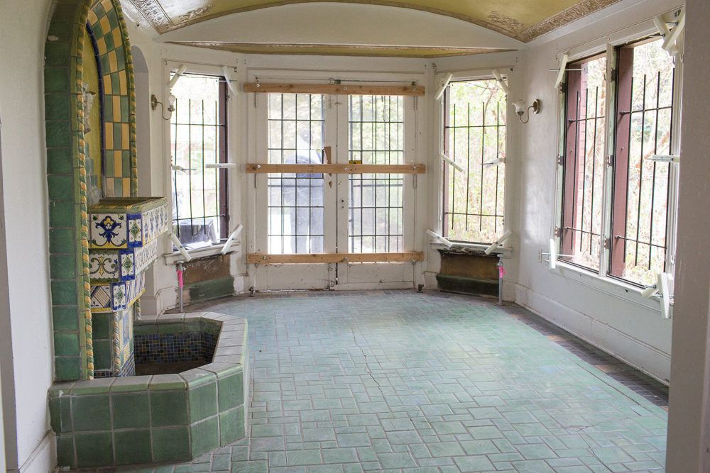 Battered Boston-Edison Mansion Includes a Lovely Solarium