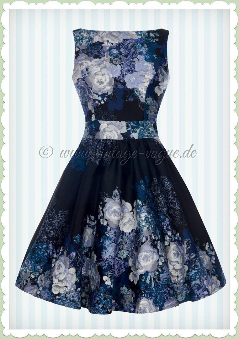 Lady Vintage 40er Jahre Vintage Rosen Kleid - Rose Floral - Schwarz ...