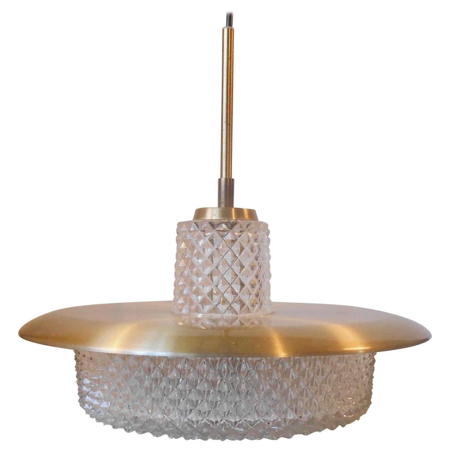 Carl Fagerlund Brass and Crystal Pendant Lamp Orrefors Sweden Mid