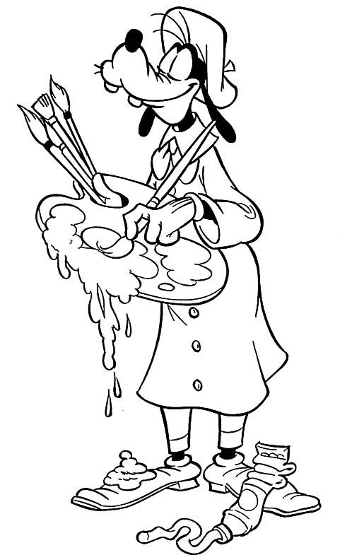 Goofy Paint Coloring Page Adult