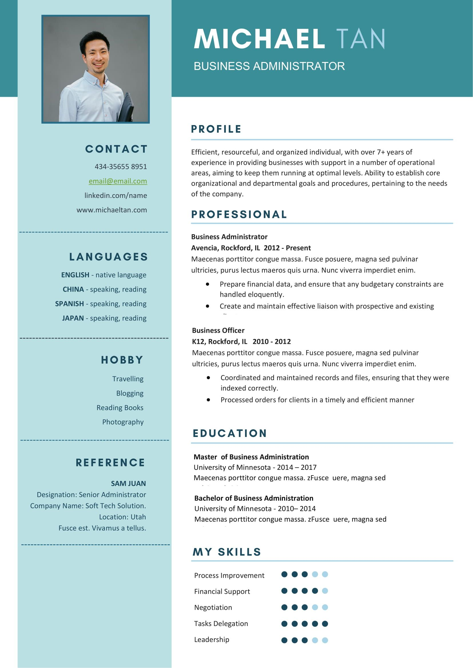 Free business administrator resume template in ms word