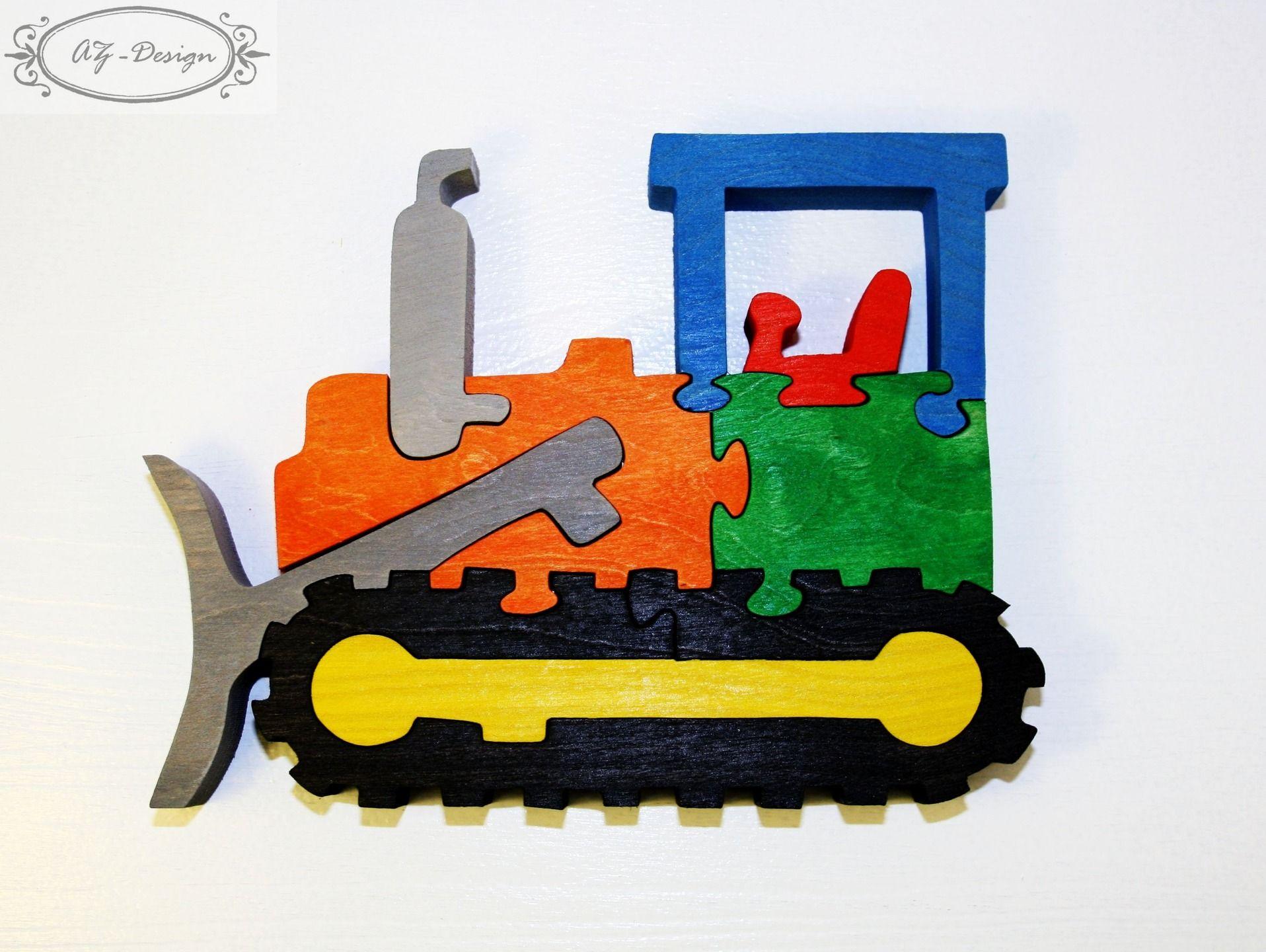 puzzle en bois bulldozer voiture chantier construction jouet enfant jeux jouets par az. Black Bedroom Furniture Sets. Home Design Ideas