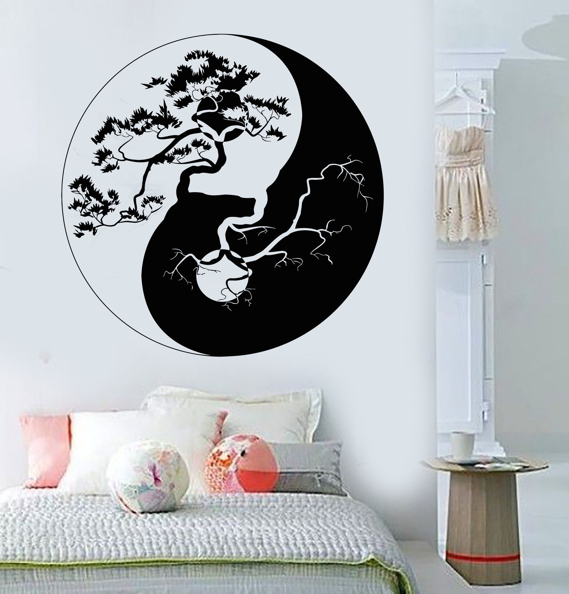 Décoration Murale Asiatique Vinyl Wall Decal Yin Yang Tree Zen Asian Style Stickers