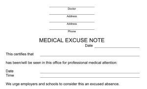 Free Excuse Notes For Missing Work Or School Doctors Note