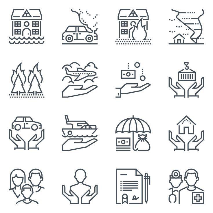 Insurance Icon Set Tree Father Family House Icon Set