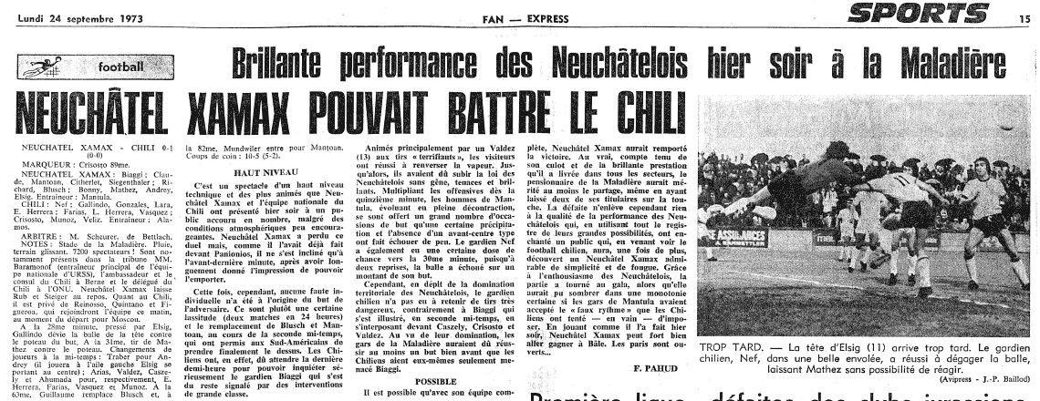 Neuchâtel Xamax (Suiza) 0 - Chile 1 (23 de Septiembre de 1973). Gol de Julio Crisosto.