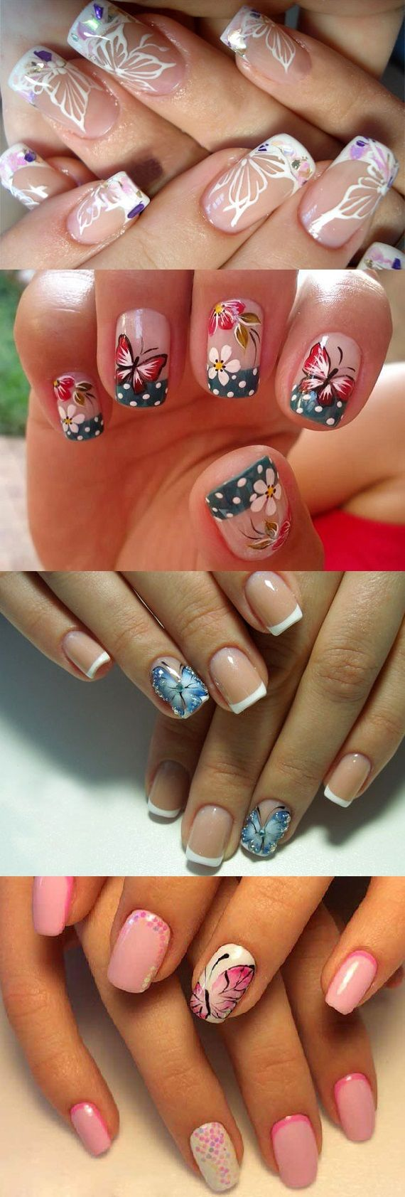 french butterfly nails nail art