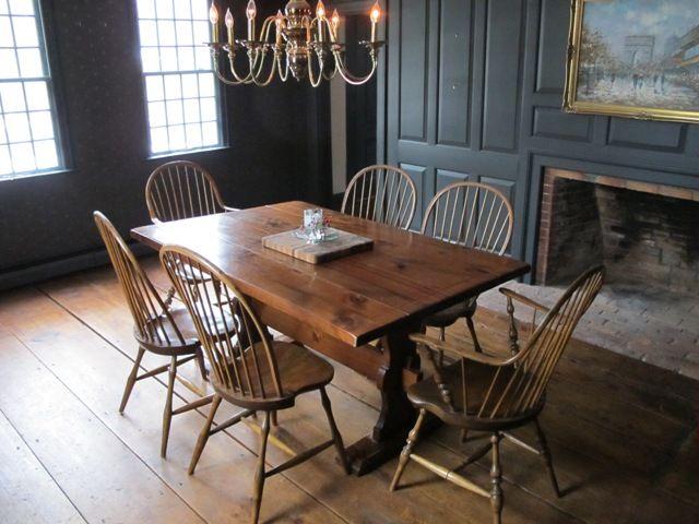 FARMHOUSE INTERIOR Vintage Early American Farmhouse Showcases Raised Panel Walls Barn Wood Floor