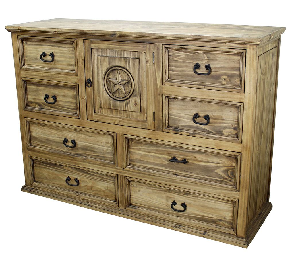 A Beautiful And Sturdy Rustic Pine Dresser With The Texas Lone Star  Engraved In The Center