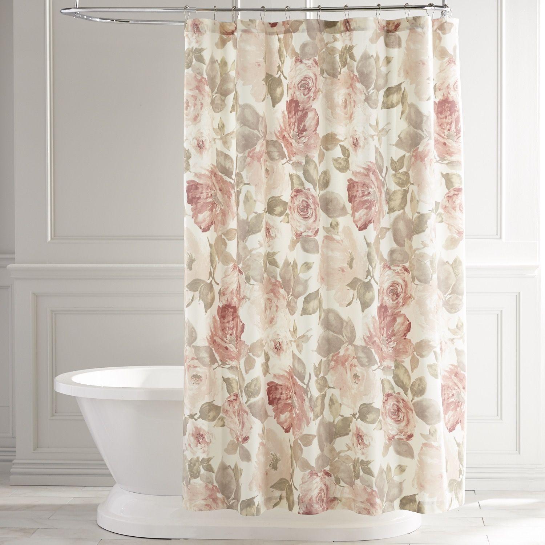 vintage rose pink shower curtain