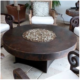 Oriflamme Hammered Copper Fire Table Fire Table Gas Firepit Fire Pit