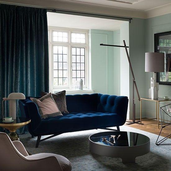 Pale Green And Blue Velvet Living Room