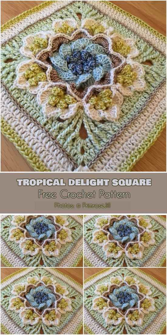 Tropical Delight – Crochet Square and Blanket [Free Pattern and Video Tutorial #afghans