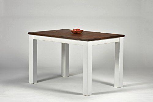 Esstisch ,,Rio Landhaus,, 120x80cm Pinie Massivholz, Tischplatte Leicht  Gebürstet, Farbton