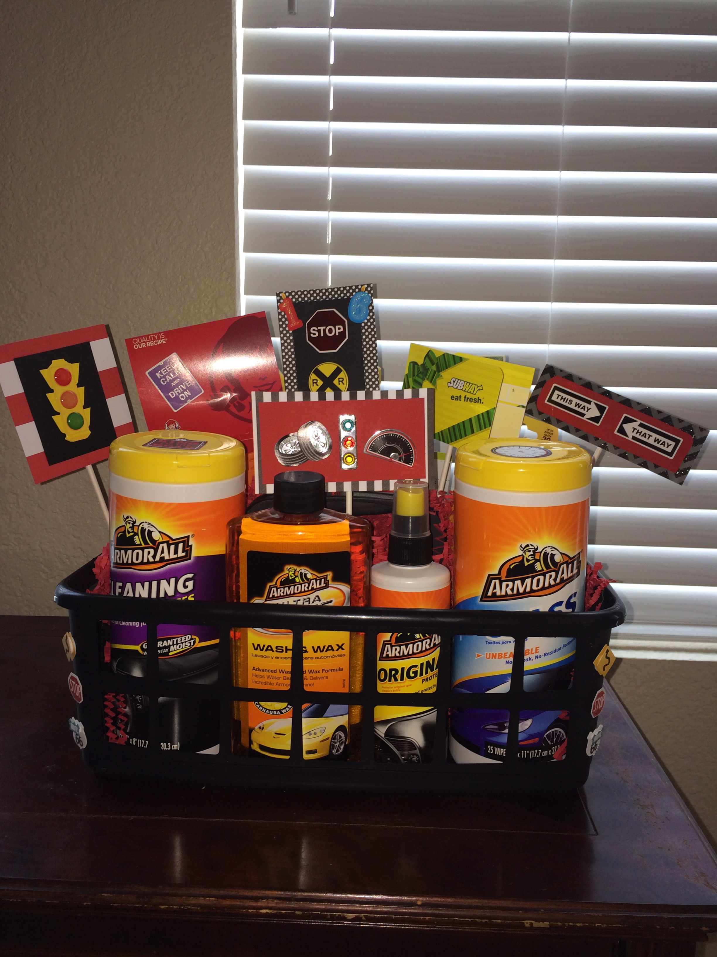 New driver basket for Logan | 16th birthday gifts, Boy ...