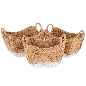 Natural Water Hyacinth Basket Set With White Bottoms