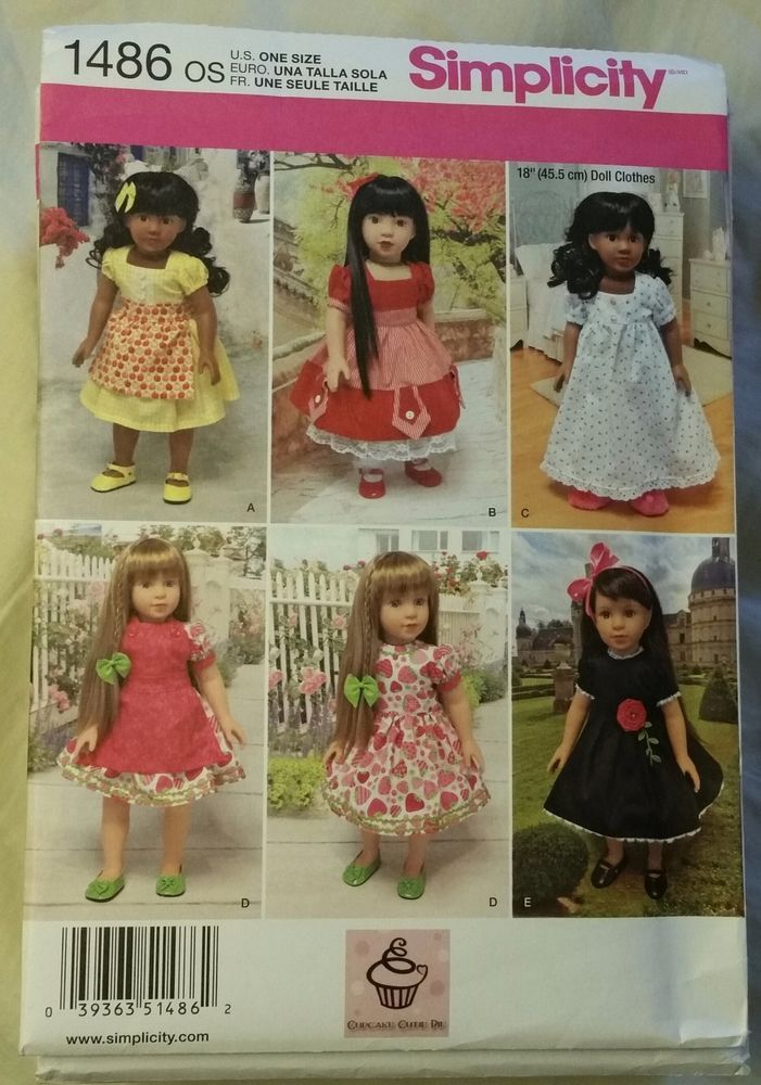"Simplicity Pattern 1486 18"" Doll Clothes Dresses, Slips, Nightgowns and Panties #McCalls"