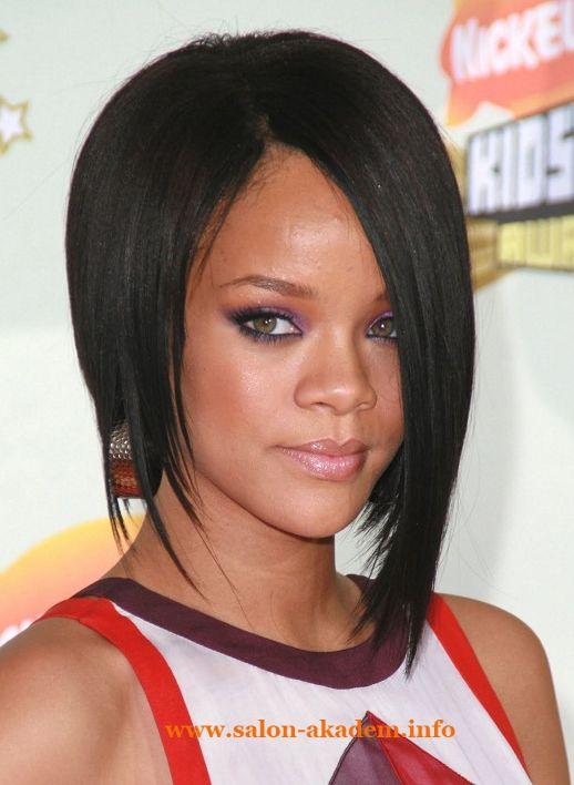 Rihanna Short Black Asymmetric Bob Haircut For Women Hairstyles Weekly