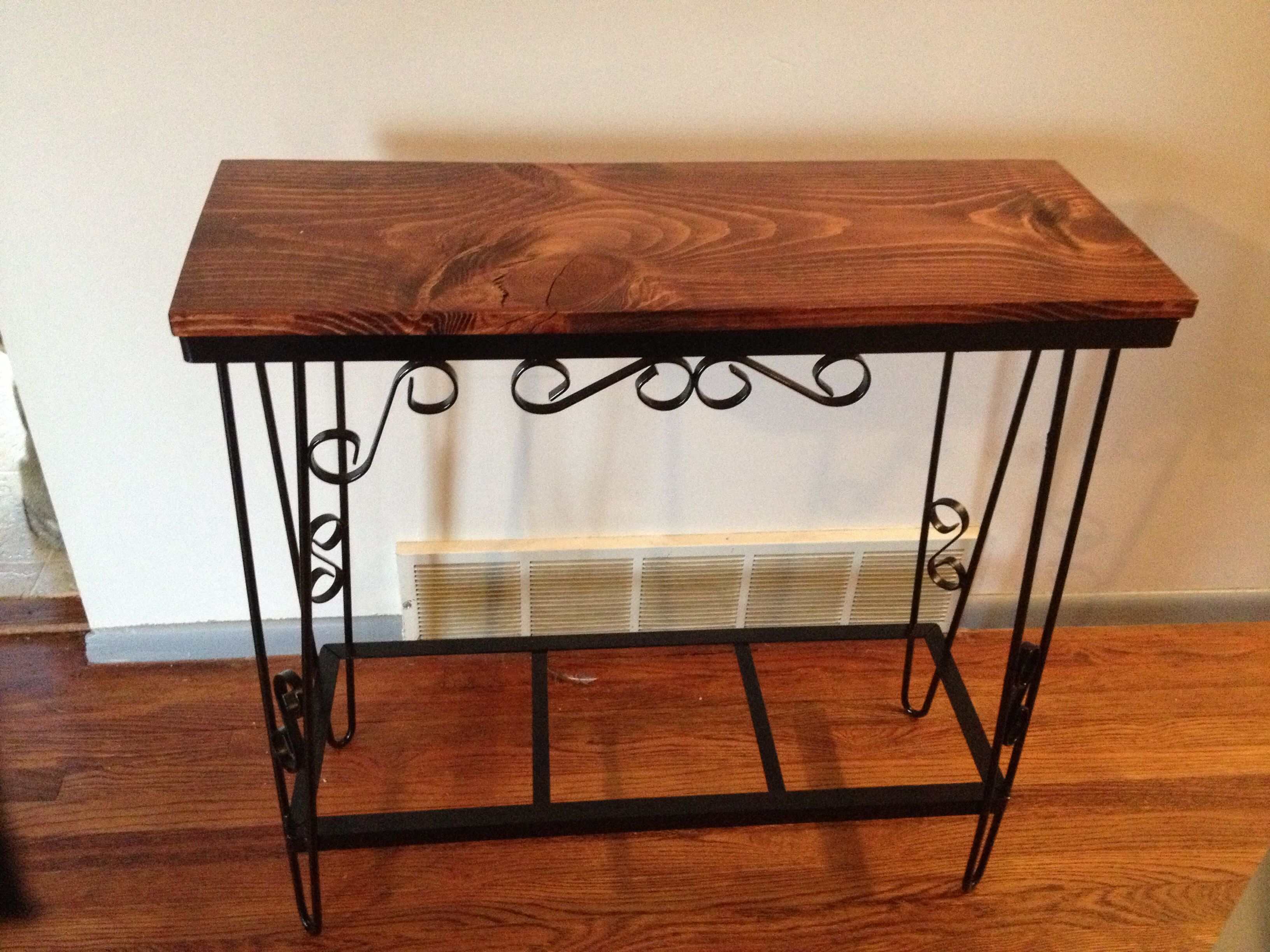 Entry way table made from fish tank stand