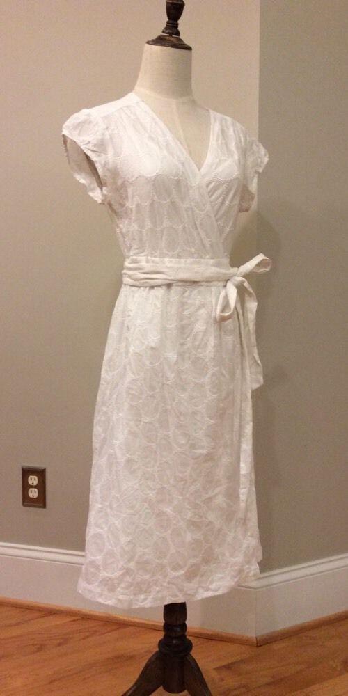 Banana Republic 2 PC White Eyelet Wrap Dress With Slip- Size 6 #BananaRepublic #WrapDress #Casual
