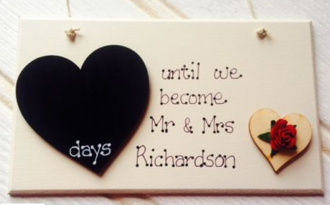 Personalized Wedding Countdown Chalkboard Plaque