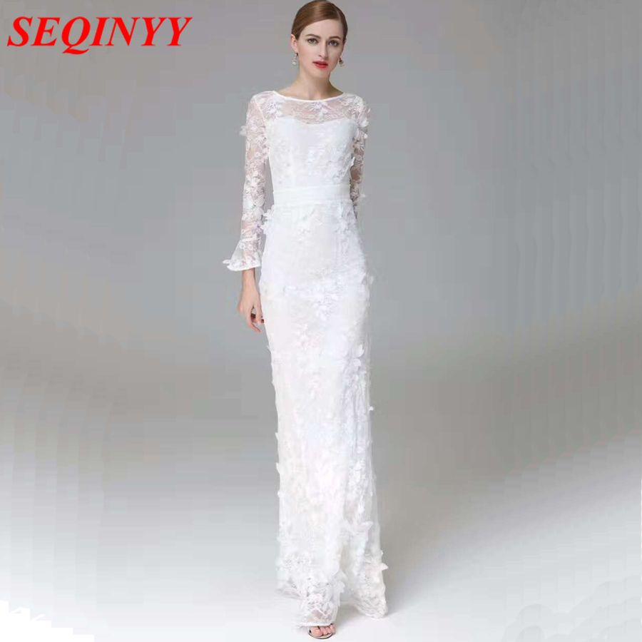 3/4 length lace wedding dress  Click to Buy ucuc Elegant Dress Vintage New Fashion   Sleeve