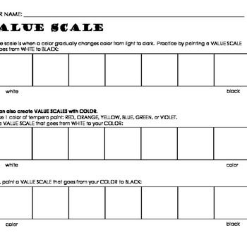 Value Scale Painting Worksheet Advanced Printable