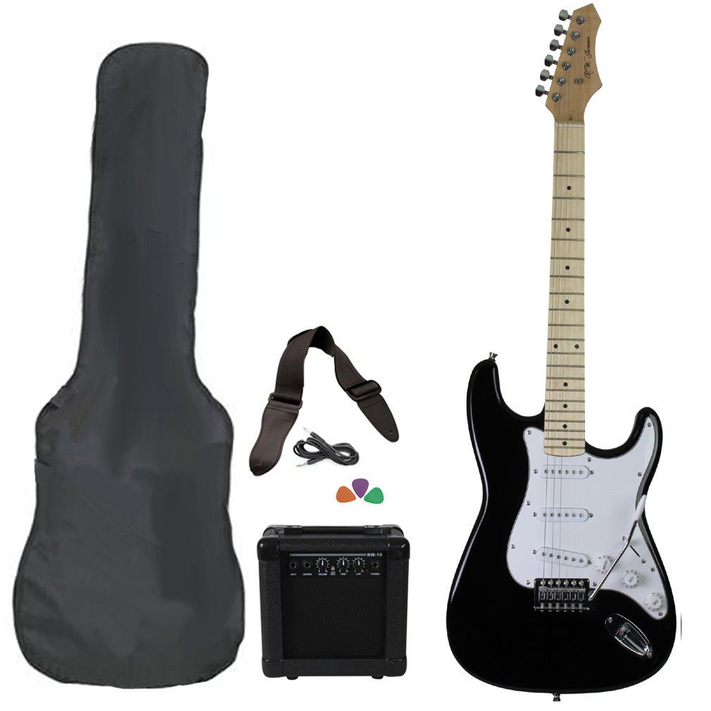 58103 Musical Instruments New Black Full Size Electric Guitar