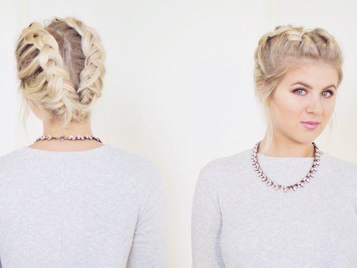 Dirndl Frisur Fur Kurzes Haar Zwei Zopfe An Beiden Seiten Des Kopfs Short Hair Styles Hair Styles Long Hair Models