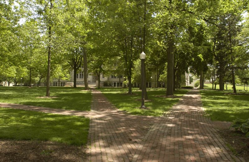 Campus gardens (view of oak grove), College of Wooster