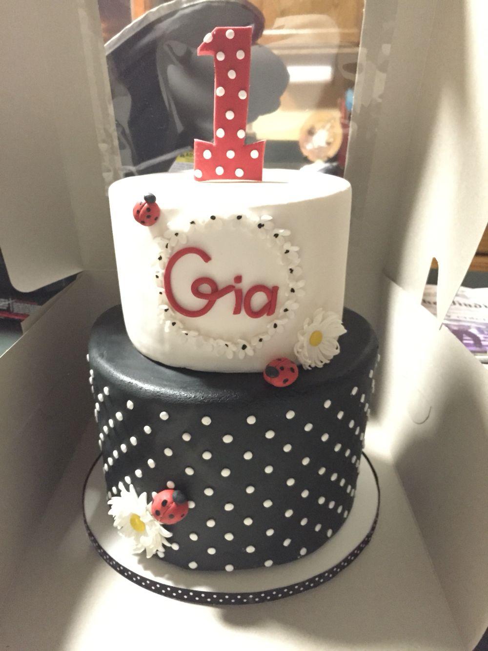 Ladybug First Birthday Cake Black And White My Cakes Pinterest