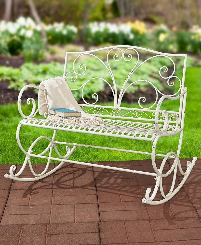Metal Rocking Bench Outdoor Weather Resistant Wrought Iron Relax