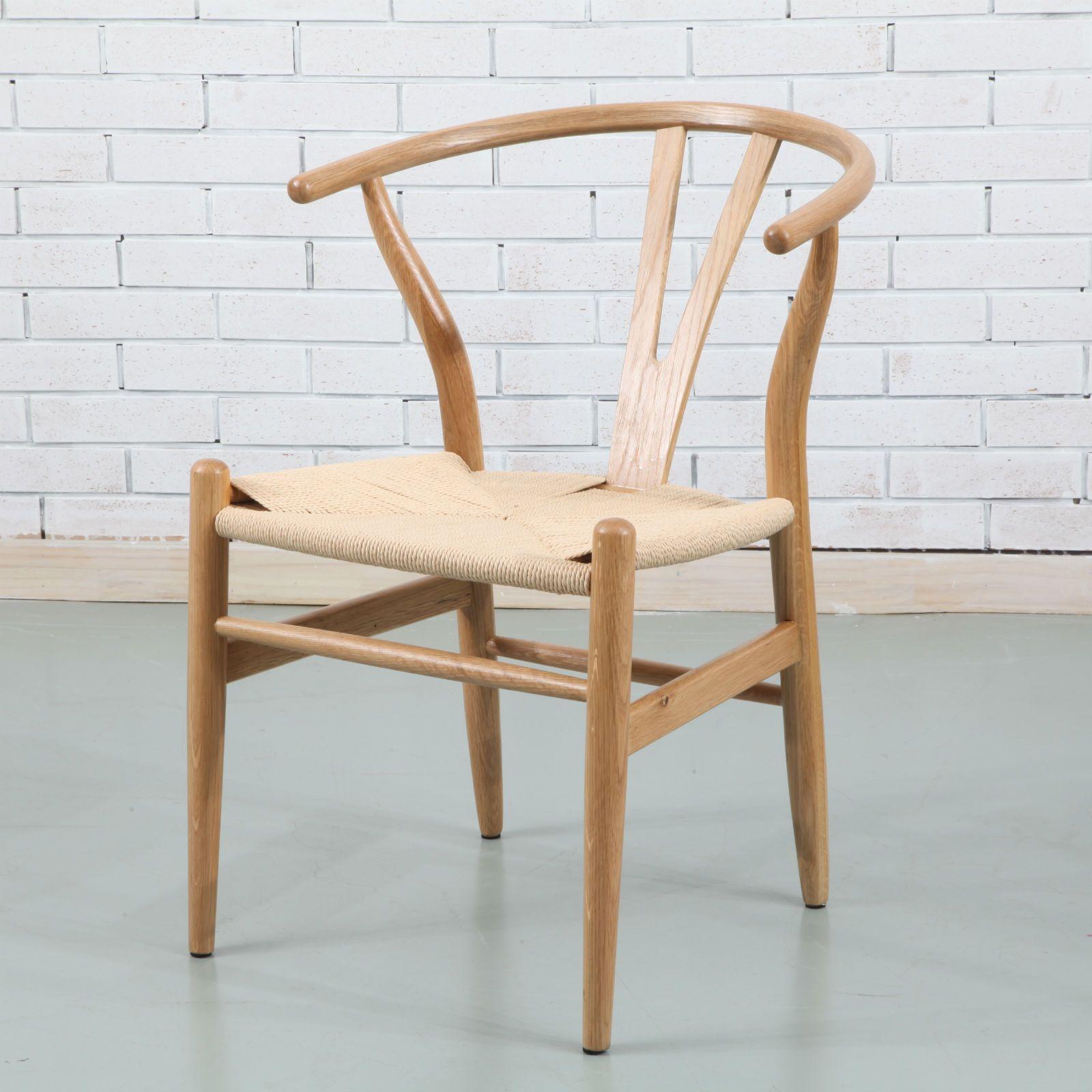 Hans Wishbone Dining Chair Solid Oak w Cord Seat Y