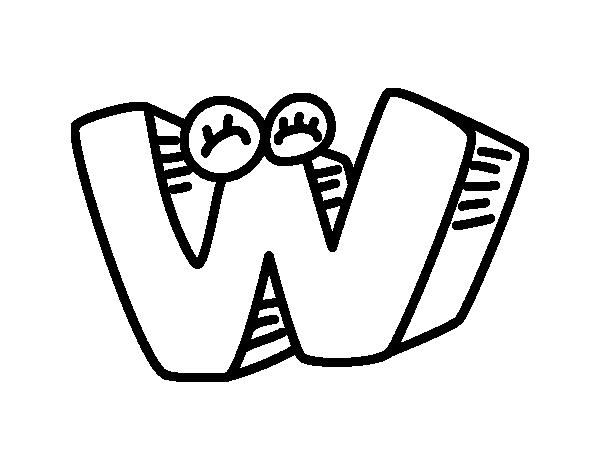 Letra W para colorear