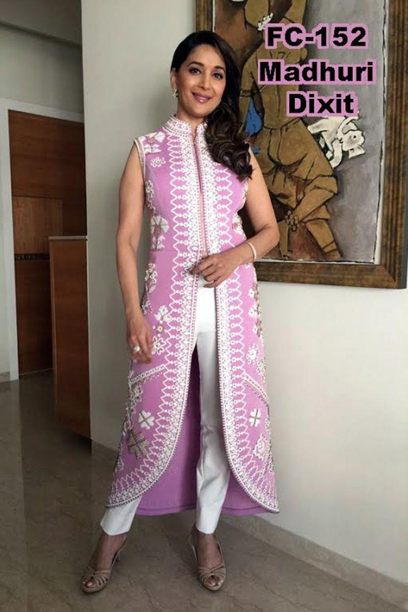 a997f97b08 Madhuri Dixit Pink Replica Suit | Bollywood Replica Sarees, Suit ...